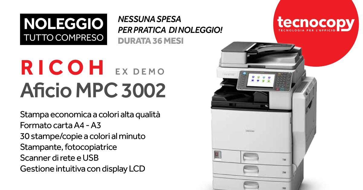 STAMPANTE Ricoh MPc3002 ex Demo in promozione tecnocopy